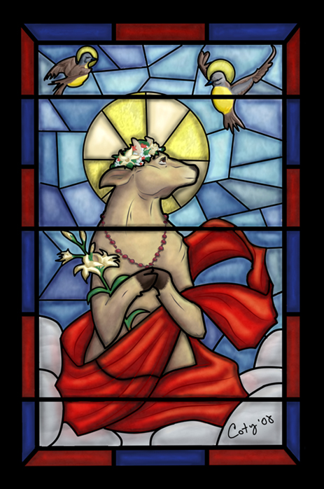 Sacred themed stain glass