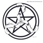 Wolf Triskele Pentagram. Constanza Ehrenhaus (c) 2010.