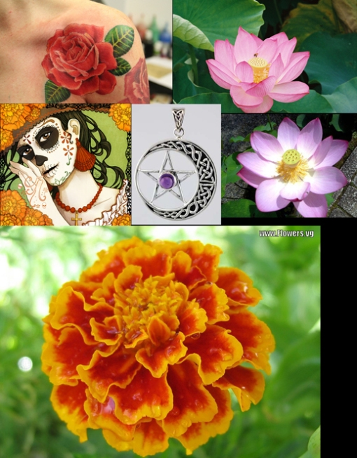 samples of references used in the makin of Flowers Goddess tattoo
