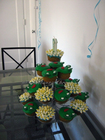 cupcake tower with #1 candle.
